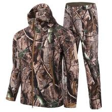 Chaqueta táctica de uniforme militar, chaqueta de camuflaje de concha suave impermeable + Pantalones del ejército, caza, pesca, senderismo, ropa de combate