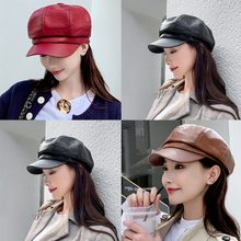 Искусственная кожа восьмиугольная шляпа женский Тренд Осень Зима Британский модный берет шапка темперамент Милая Личность Повседневная газетная шапка