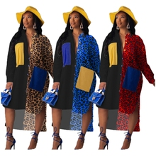 Loose Leopard Print Contrast Color Patchwork Maxi Shirt Dress Oversized Ropa Mujer Sexy Casual Robe Pockets Roupas Asymmetrical