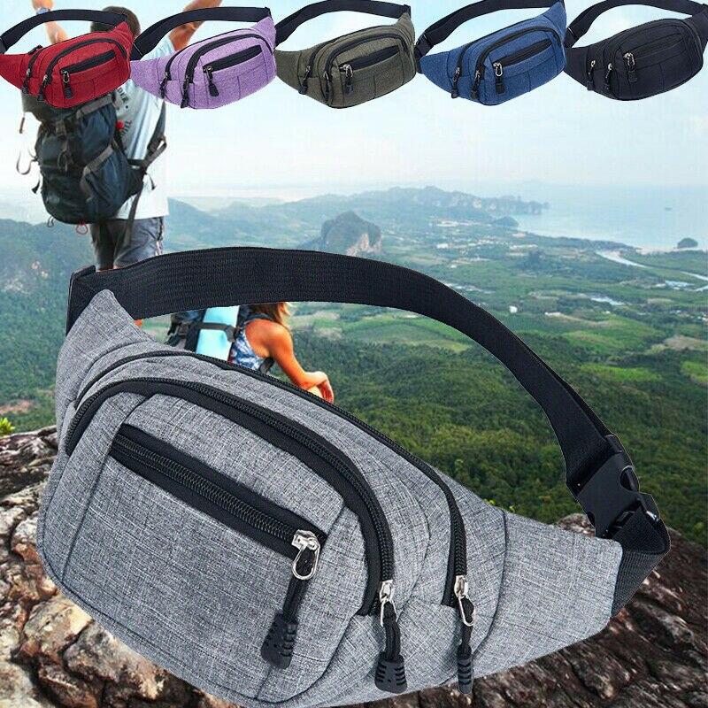 Travel Bum Bag Fanny Pack Waist Bag Zipped Outdoor Sports Shoulder Bag Pouch Casual Adjustable High Capacity Men Sport Waist Bag