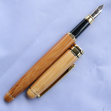 цена Nature Bamboo Material Pen Retro Office School Fountain Pen Ink with Tip 1mm to 3 mm Writing Supplies онлайн в 2017 году