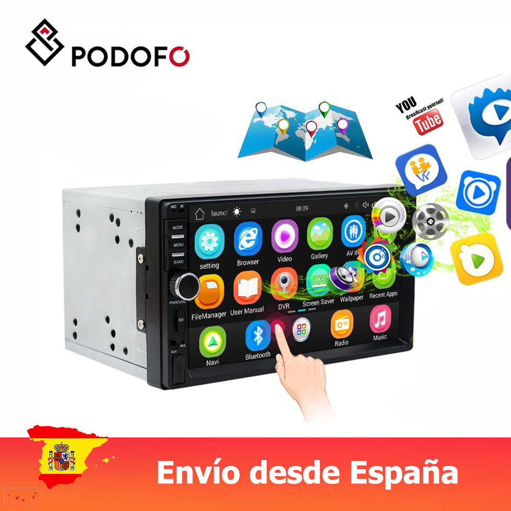 Podofo VEUR 7'' 2din Android Car Radio Stereo GPS Navigation Bluetooth USB SD 2 Din Touch Multimedia Player Audio image