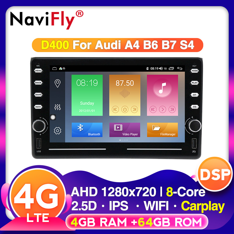 NaviFly VOICE control DSP Android for Audi A4 B6 B7 S4 B7 B6 RS4 B7 2002 2008 Car multimedia With IPS screen CARPLAY BT|Car Multimedia Player| - AliExpress