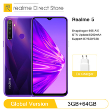 Realme 5 3 ГБ ОЗУ 64 Гб ПЗУ 6,5 «мобильный телефон Snapdragon 665 AIE Восьмиядерный 12МП четырехъядерный мобильный телефон 5000 мАч смартфон