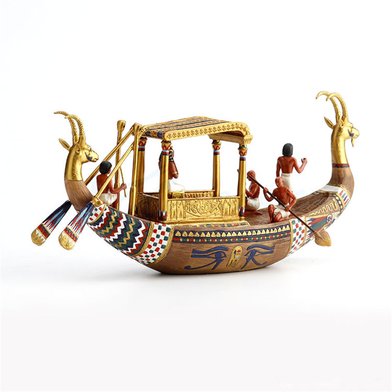 Creative Ancient Egypt Figure King Ship Resin Art&Craft Home Living Room Office Desk Ornaments Statue Decor M3863