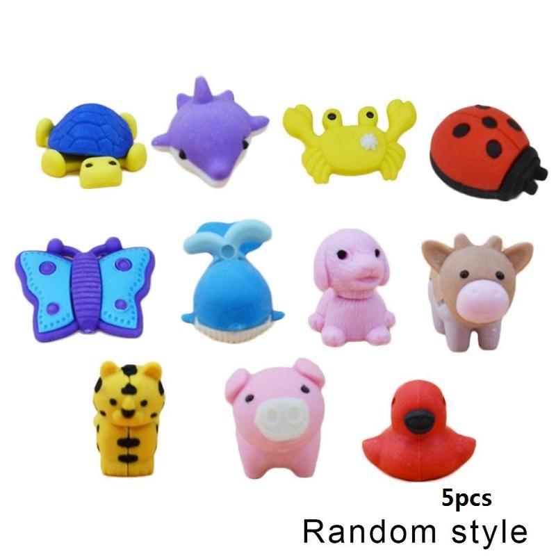 5pcs/pack Cute Cartoon Animal Eraser Novelty Different Kinds Of Children Cute Animal Eraser 25 Random School Stationery