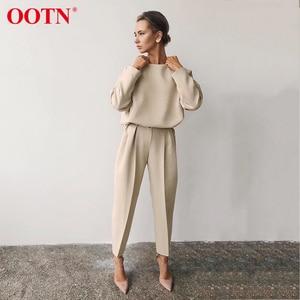 Image 1 - OOTN gündelik haki uzun kollu gömlek bayanlar O boyun katı ofis bluzlar 2020 moda İlkbahar yaz bayan üstleri ve bluzlar kahverengi