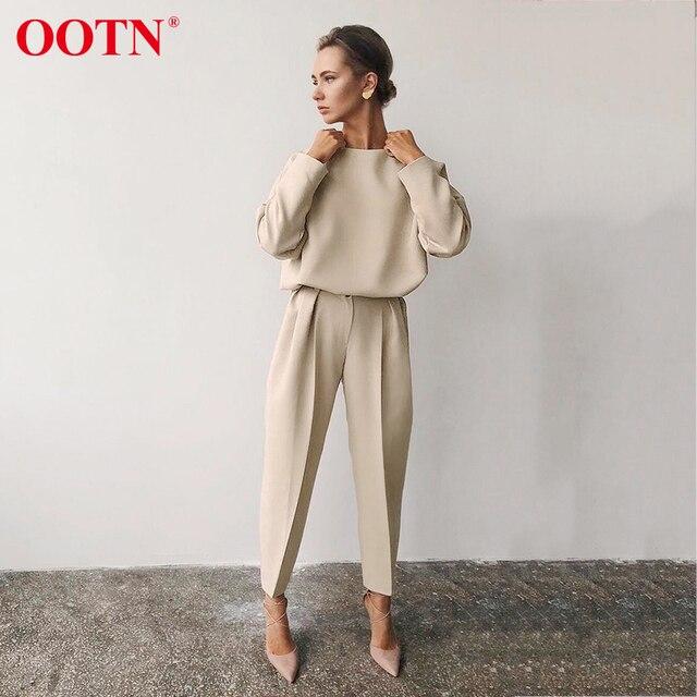 OOTN gündelik haki uzun kollu gömlek bayanlar O boyun katı ofis bluzlar 2020 moda İlkbahar yaz bayan üstleri ve bluzlar kahverengi