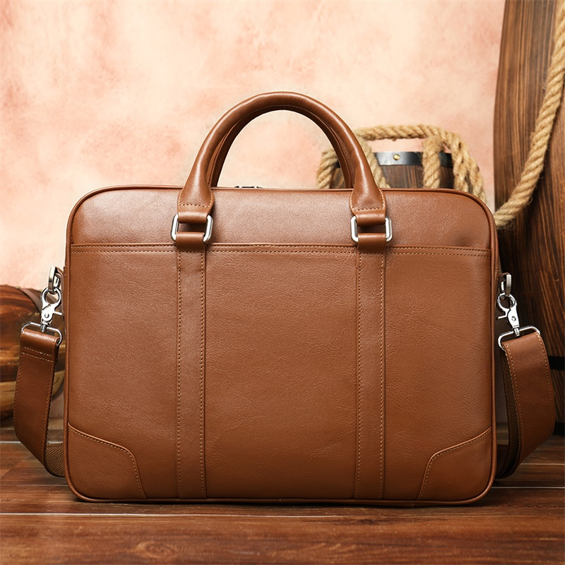 Casual Men Briefcases Bag Laptop Business Briefcase For Documents Laptop Bag Men Leather Briefcase Vintage Office Handbag 9879-2