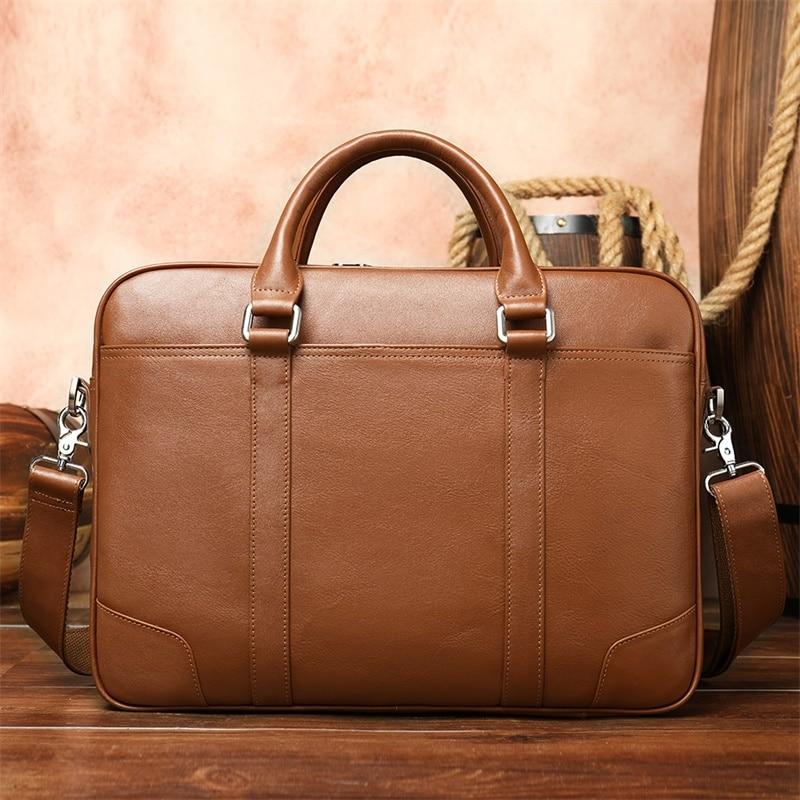 Casual Men Briefcases Bag Laptop Business Briefcase For Documents Laptop Bag Men Leather Briefcase Vintage Office Handbag 9879-2