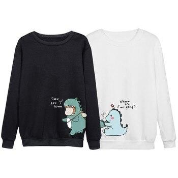 Men's Hoodies Unisex Couple's O-neck Casual Long Sleeves Dinosaur Print Shirts Top Blouses Мужские Комплекты 2