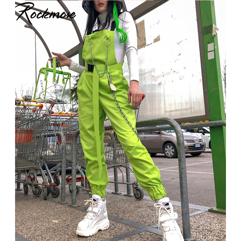 Rockmore Punk Overalls Women Cargo Pants With Chain Streetwear Buckle Strappy High Waist Long Pants Harajuku Femme Trousers Fall