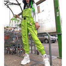 Rockmore-pantalones Cargo Punk para mujer, ropa de calle con cadena, hebilla, cintura alta con tiras, largos, Harajuku, otoño