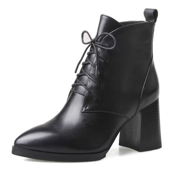 Meotina Autumn Ankle Boots Women Natural Genuine Leather Chunky Heel Short Boots Lace Up Super High Heel Shoes Lady Fall Size 39