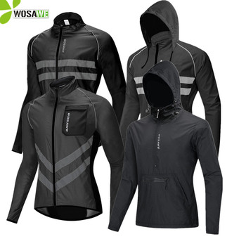WOSAWE Waterproof Men's Cycling Jackets High Visibility Windbreaker Bicycle Sports Clothing Reflective Rain Resistence Bike Coat wosawe cycling windbreaker jacket cycling motocross riding outwear lightweight waterproof coat mtb bike jersey reflective coat