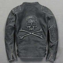 2020 Men's Vintage Black Skulls Motorcycle Leather Jacket Black Stand Collar Genuine Cowhide Loss of sales, sold no longer produ(China)