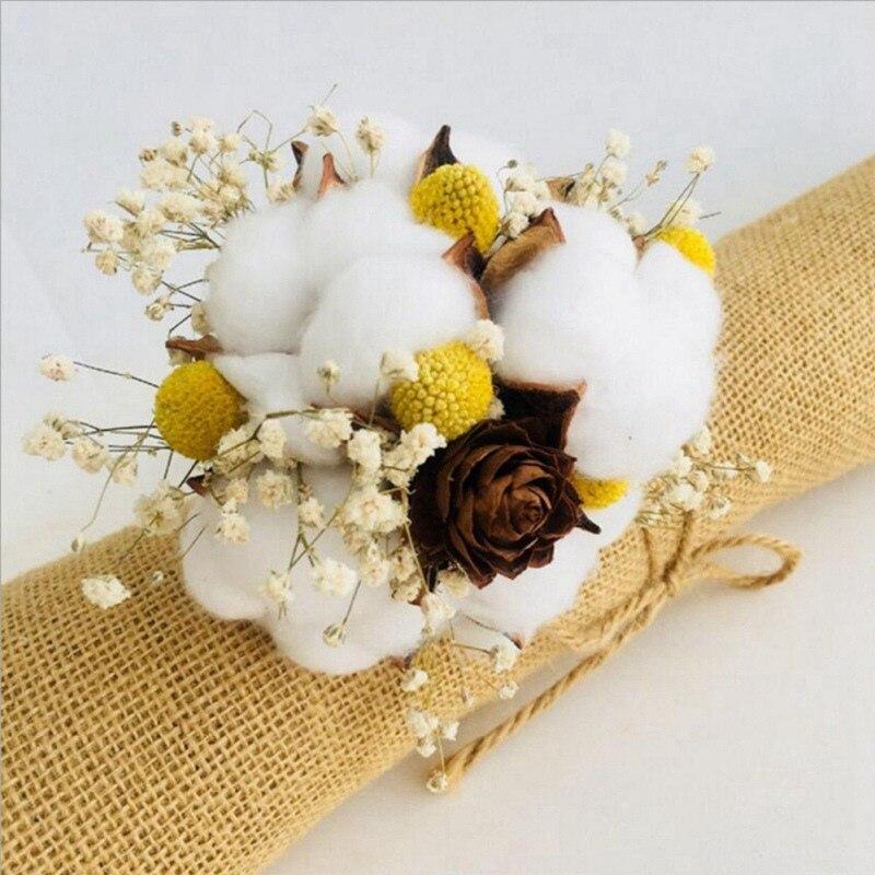 10 pièces boules de coton naturel fleur sèche mariage fleurs séchées plantes fleurs artificielles fête de noël décoration de la maison cinq color1 - 2