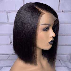 Image 3 - Kinky Straight Bob Wig Lace Front Human Hair Wig Short Brazilian Remy Hair Lace Wig Pre Plucked For Black Women Bleached Knots