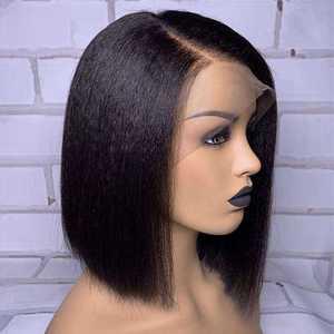 Image 3 - Kinky reta bob peruca frente do laço peruca de cabelo humano curto brasileiro remy peruca do laço pré arrancado para preto feminino descorado nós