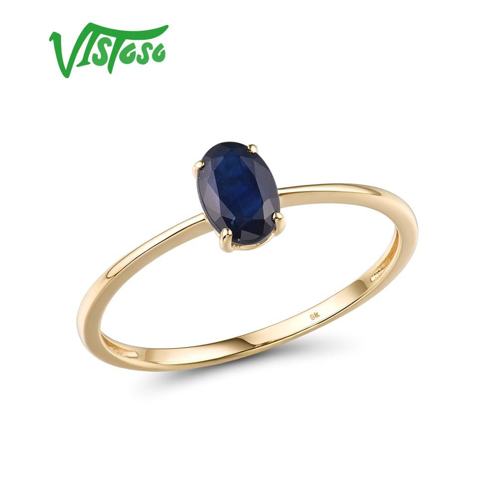 VISTOSO Gold Rings For Women Genuine 9K 375 Yellow Gold Ring Sparkling Blue Sapphire Engagement Ring Fine Jewelry