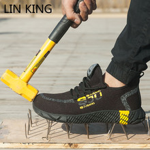 LIN KING Breathable Mesh Safety Shoes Men Light Sneakers Indestructible Steel Toe Soft Anti-piercing Man Work Boots Plus Size 48 дутики king boots king boots mp002xw0zwfn