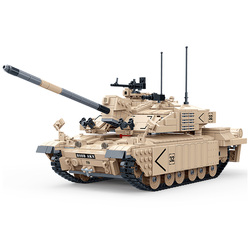 1467Pcs DIY Military Theme 1:18 Challenger Tank Assembly Model Small Particle Building Block Model Kit Kids Gift 2019 New