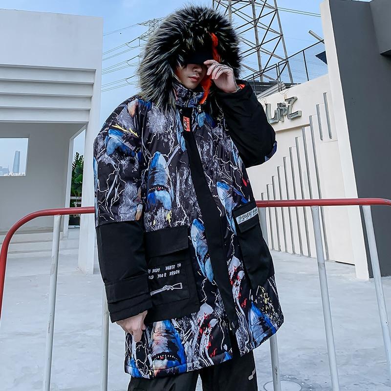 Мужская зимняя куртка с капюшоном с принтом акулы, 2019, Мужская Толстая теплая парка в стиле хип хоп, мужская повседневная куртка в стиле пэчв... - 2