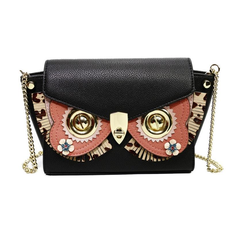Luxury Fashion Genuine Leather Handbags for Women Classic Owl Decoration Messenger Bags Elegant Chain Shoulder Crossbody Bags