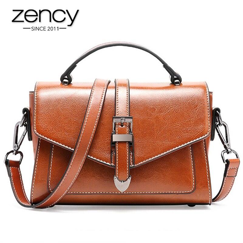 Zency 100% Genuine Leather Vintage Women Tote Handbag Summer Flap Lady Casual Messenger Shoulder Bag White Black Brown Red