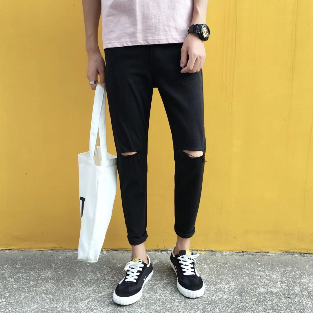 Korean-style Handsome With Holes Jeans Men Teenager Skinny Slim Fit Casual Pants Summer Trend Capri Men's Trousers