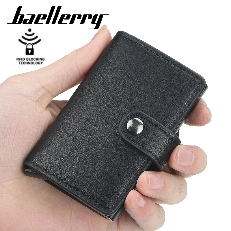 2021 New Business ID Credit Card Holder Men and Women Metal RFID Vintage Aluminium Box PU Leather Card Wallet Note Carbon