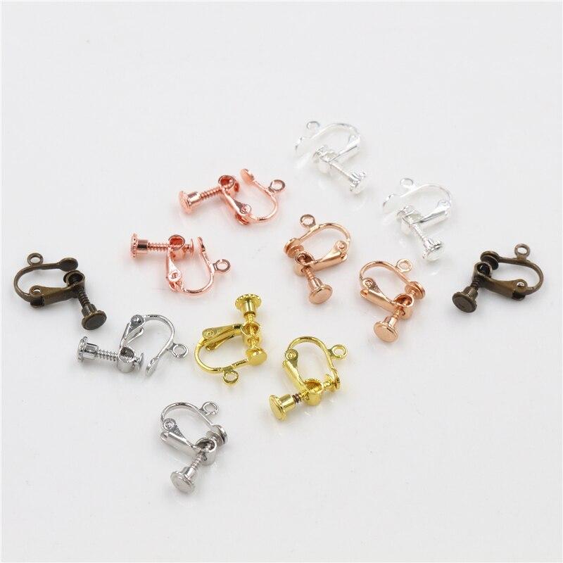 10pcs 15*13mm Brass Screw Ear Clip Earring Settings Rotate Pads Earring Findings Base Blank Bezel For Jewelry Making Supplies