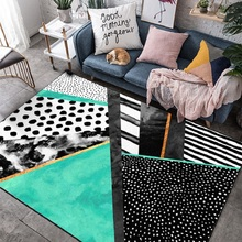 Fashion Watercolor painting green black geometric door mat Bedroom living room floor plush non-slip rug custom made carpet