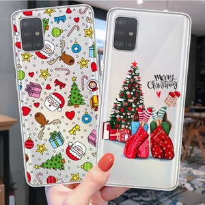Christmas Cartoon Deer Phone Case For Samsungs A51 A71 A10 A30 A50 A70 A80 2019 A6 A8 A7 2018 A750 Santa New Year Silicone Cover
