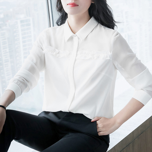 Women's Spring Autumn Style Blouse Shirt Women's Button Turn-Down Collar Solid Color Long Sleeve Korean Elegant Tops SP1099 5