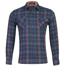 Cotton fleece Shirt Men Checked Plaid Shirts Casual  long sleeves dress shirt for men Double Pocket Chemise Homme  korean shirt checked shirt with pocket
