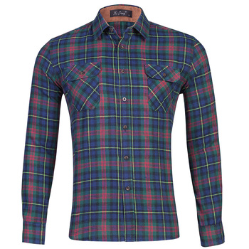 Cotton fleece Shirt Men Checked Plaid Shirts Casual  long sleeves dress shirt for men Double Pocket Chemise Homme  korean shirt pocket patched plaid curved hem shirt dress