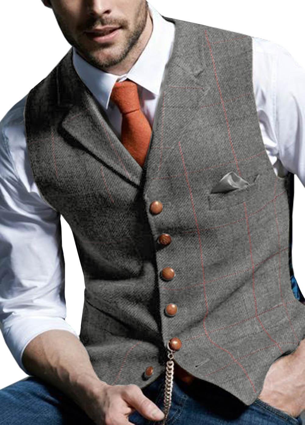 Mens-Suit-Vest-Notched-Plaid-Wool-Herringbone-Tweed-Waistcoat-Casual-Formal-Business-Groomman-For-Wedding-Green (1)