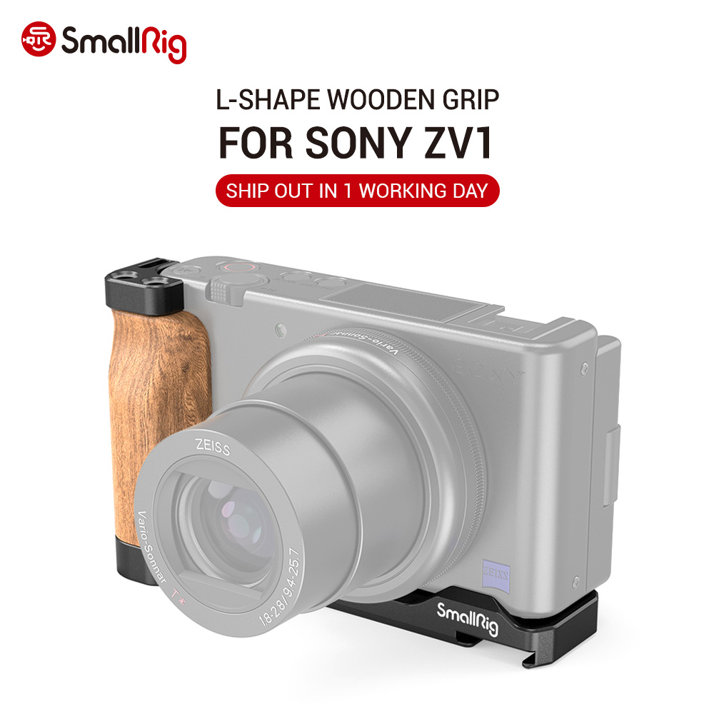 SmallRig ZV1 Camera Vlog Rig L-Shape Wooden Grip with Cold Shoe for Sony ZV1 Camera Vlogging Accessories 2936
