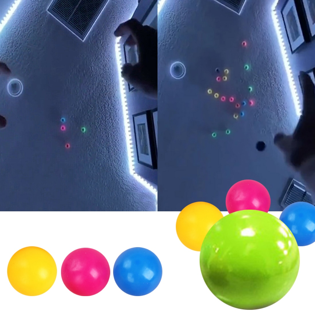 Bâton boule murale Fidget jouets boule de décompression collant boule de courge aspiration décompression jouet cible balle attraper balle lancer enfants