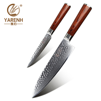 YARENH 2 pcs kitchen knives set damascus stainless steel chef knife sets for family best cooking knives set with wooden handle