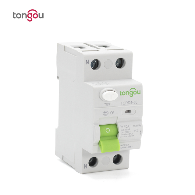 AC 2P 16A 10mA 30mA 6KA RCCB RCD 110V 230V Residual Current Circuit Breaker Differential Breaker Safety Switch TORD4 63