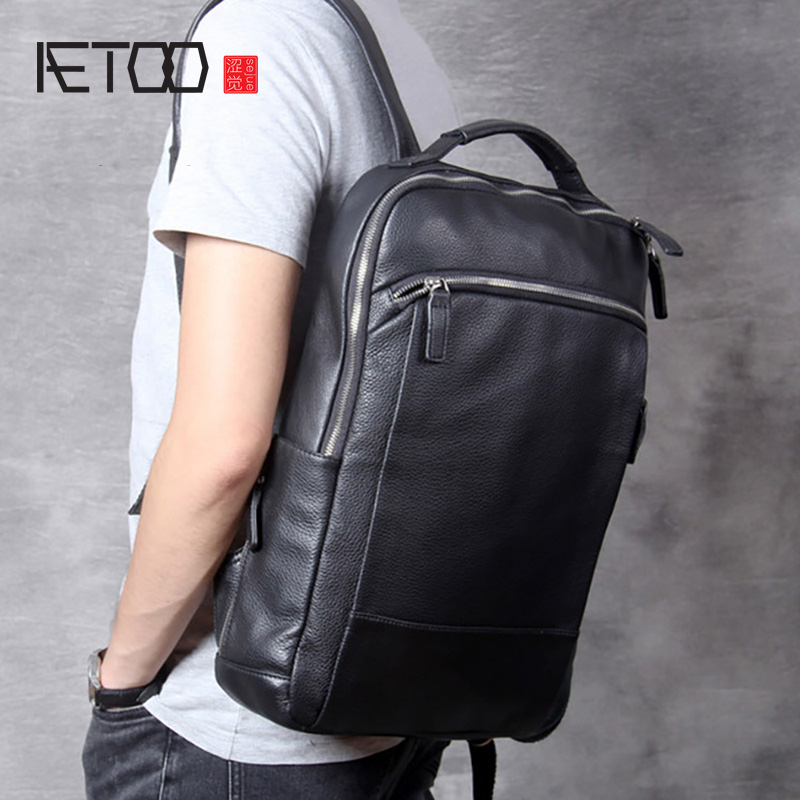 AETOO Simple Casual Leather Shoulder Bag, Men's Handmade Head Leather Travel Backpack, Computer Bag Woman