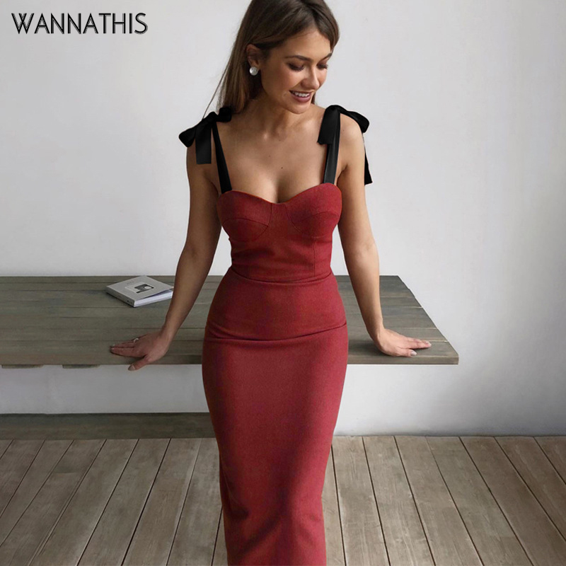 WannaThis Spaghetti Strap Bodycon Dress Knee-Length Bow Lace Up Women Party Dress Satin Slash Neck Off Shoulder Elegant Dresses