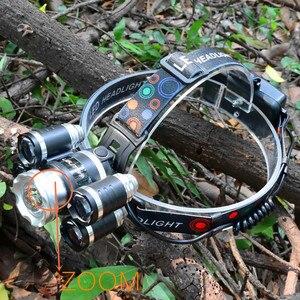 Image 3 - Прямая поставка, мощный Головной фонарь, 5 светодиодов T6, налобный фонарь с фокусировкой, фонарь для охоты, налобный фонарь для рыбалки, фонарь для кемпинга