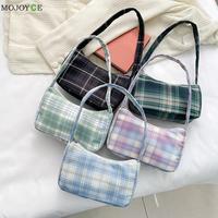 Vintage Plaid impresión bandolera bolsa mujeres bolsos pequeños mujer tela Causal cremallera bolsas de uso cotidiano bolso