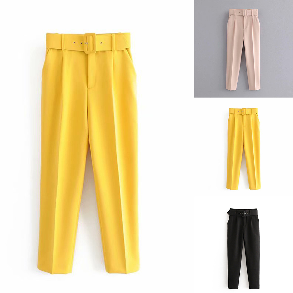 SFIT 2020 Solid Suit Pants Woman High Waist Pants Sashes Pockets Office Ladies Pants Fashion Middle Aged Pink Yellow Pants