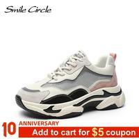 Sourire cercle compensées femmes baskets plates plate-forme chaussures mode fond épais bout rond à lacets décontracté dames baskets