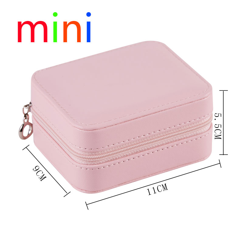New Korean Style Girl Earrings Plate Jewelry Box Portable PU Earrings Ring Necklace Multi-Function Jewelry Storage Box