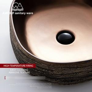 Image 4 - アート盆地シンク浴室洗浄槽ボウルセラミック容器アンティークスクエアストーン上カウンターバルコニー流域 AM920